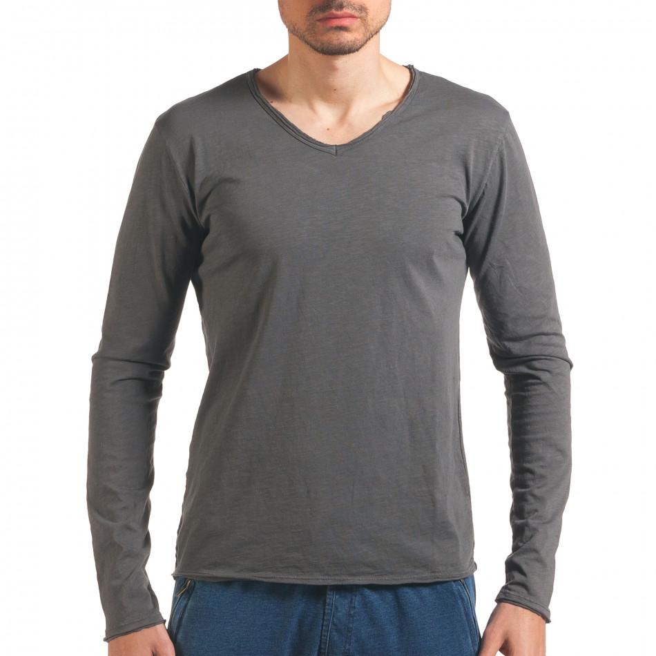 Мъжка сива блуза с дълъг ръкав it260416-50