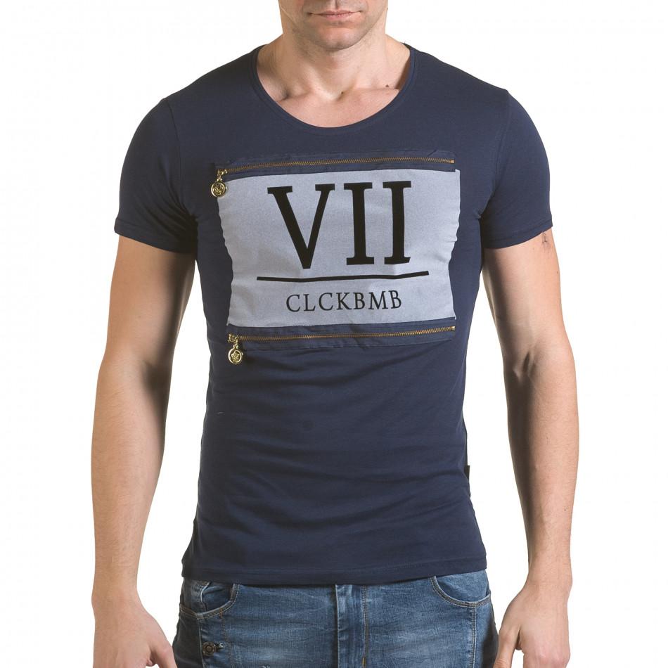 Мъжка синя тениска с римски номер VII il170216-86