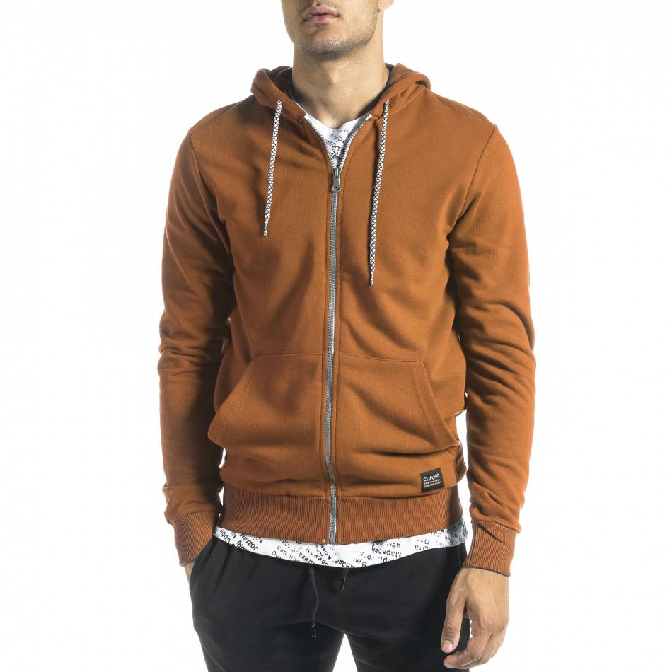 Basic мъжки суичър цвят камел tr300821-1