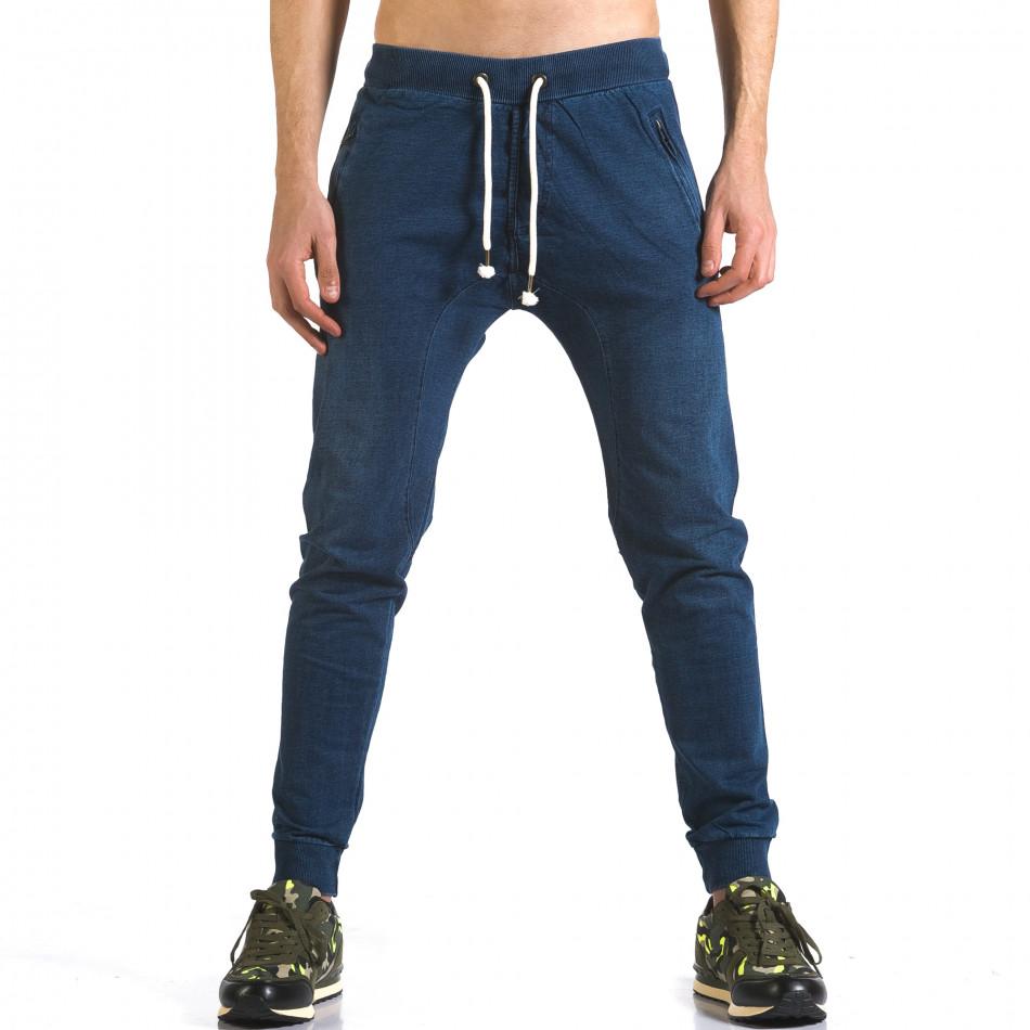 Мъжки сини потури с ефект на дънки и ципове на джобовете it090216-56