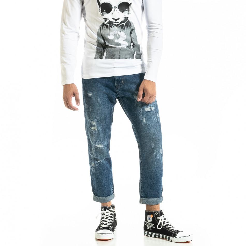 Loose fit Destroyed мъжки сини дънки it020920-14