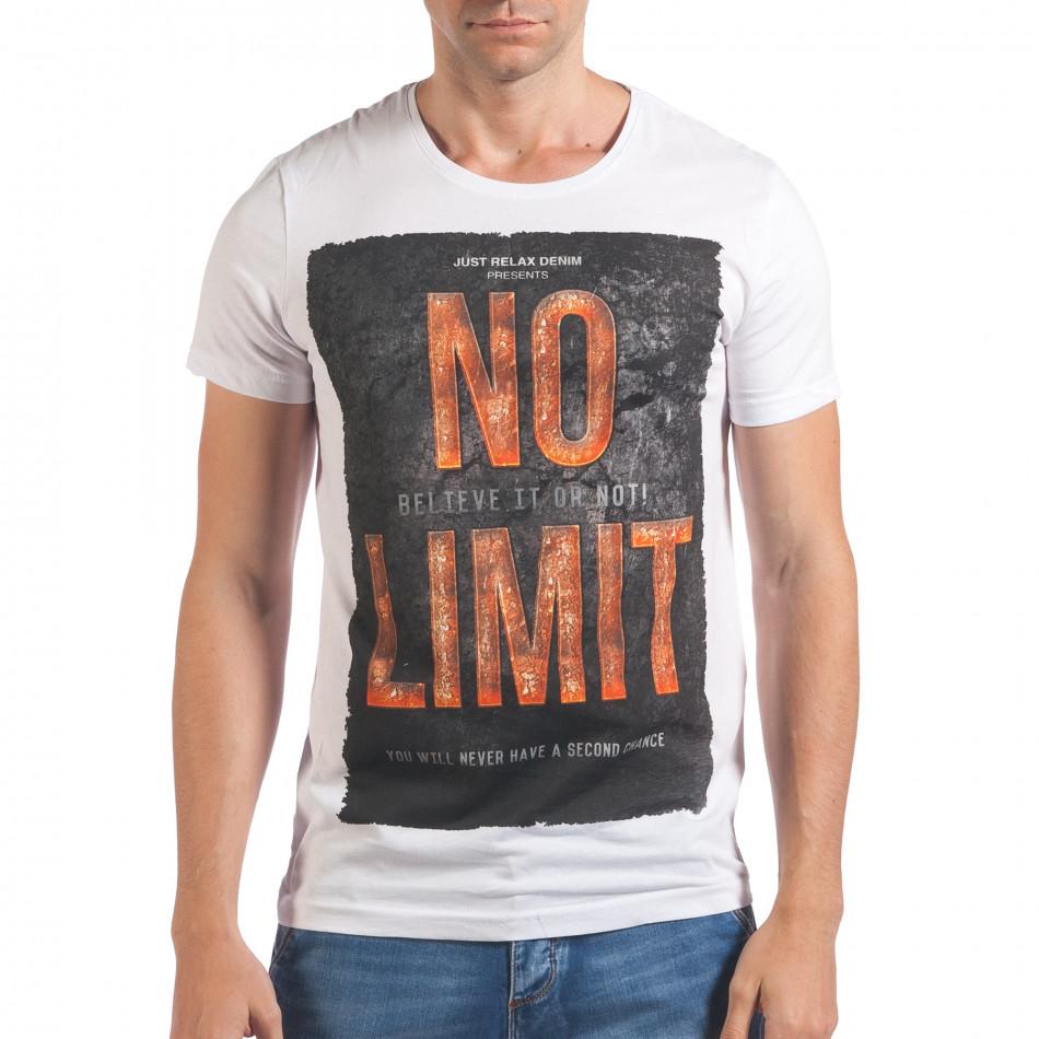 Мъжка бяла тениска с надпис No Limit отпред il060616-66