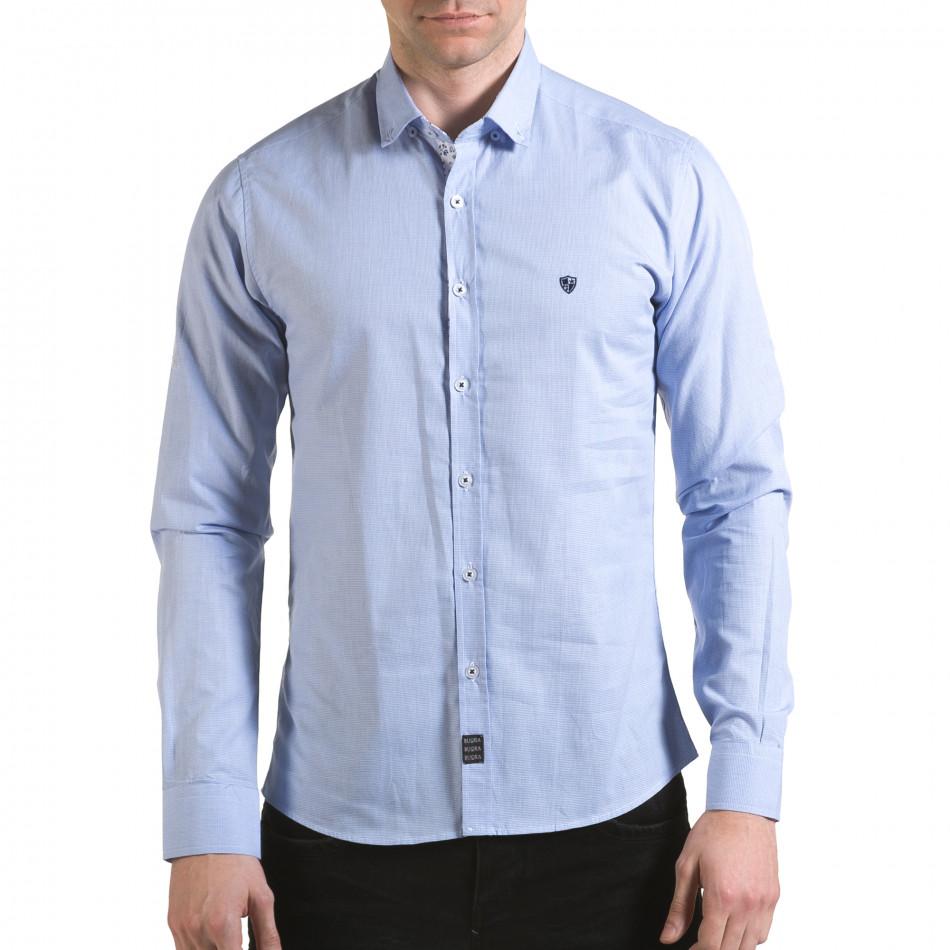Мъжка синя риза на много фини квадратчета il170216-110