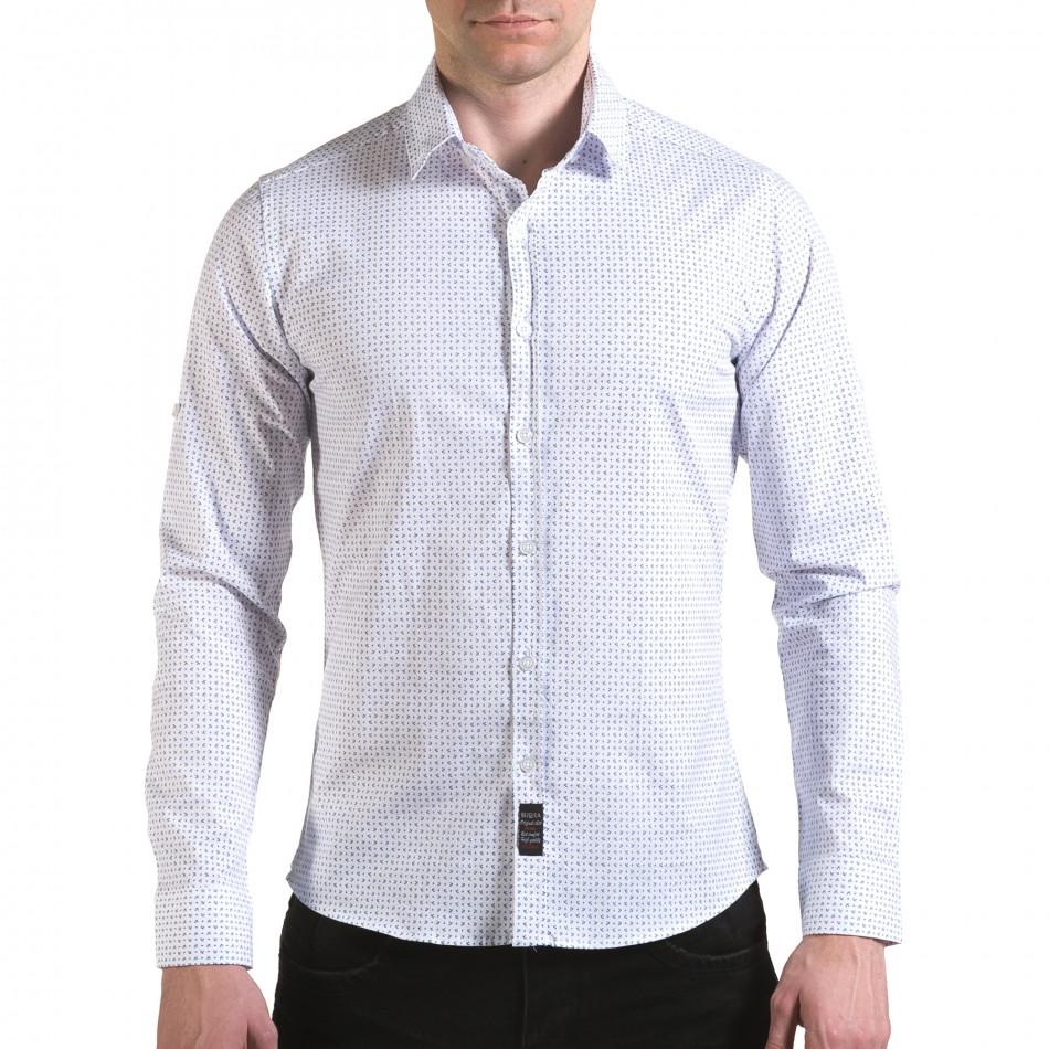 Мъжка бяла риза с малки сини детайли il170216-117