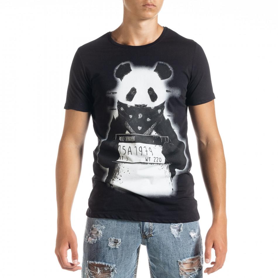 Мъжка тениска Panda Criminal в черно tr010720-23