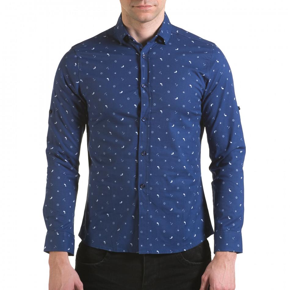 Мъжка синя риза с котвички и китове il170216-95