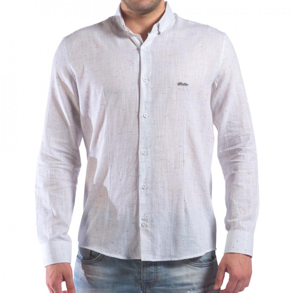 Мъжка бяла риза с малки разноцветни детайли il210616-28