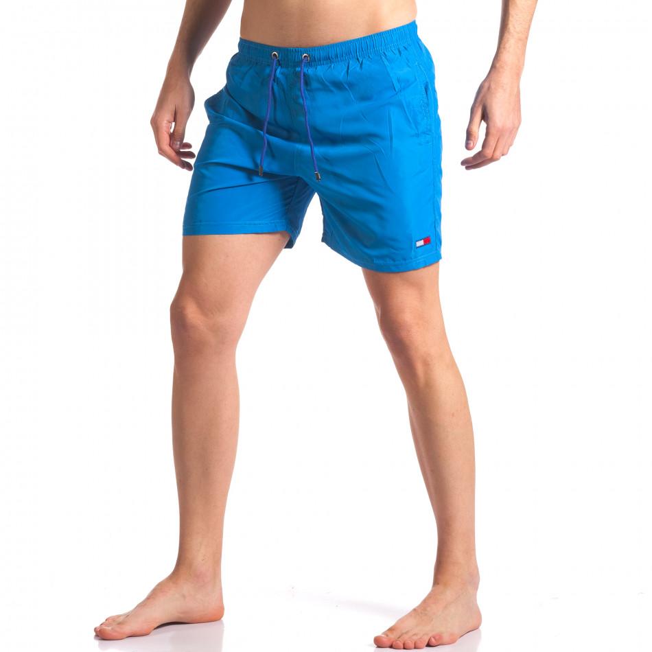 Мъжки сини бански с малка емблема it250416-53