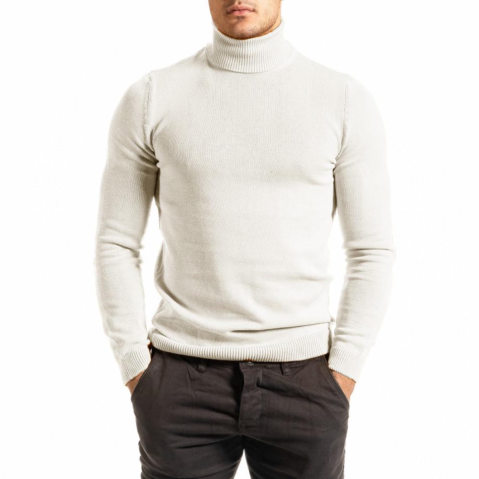 Мъжко бяло поло от памучна смес tr111220-3