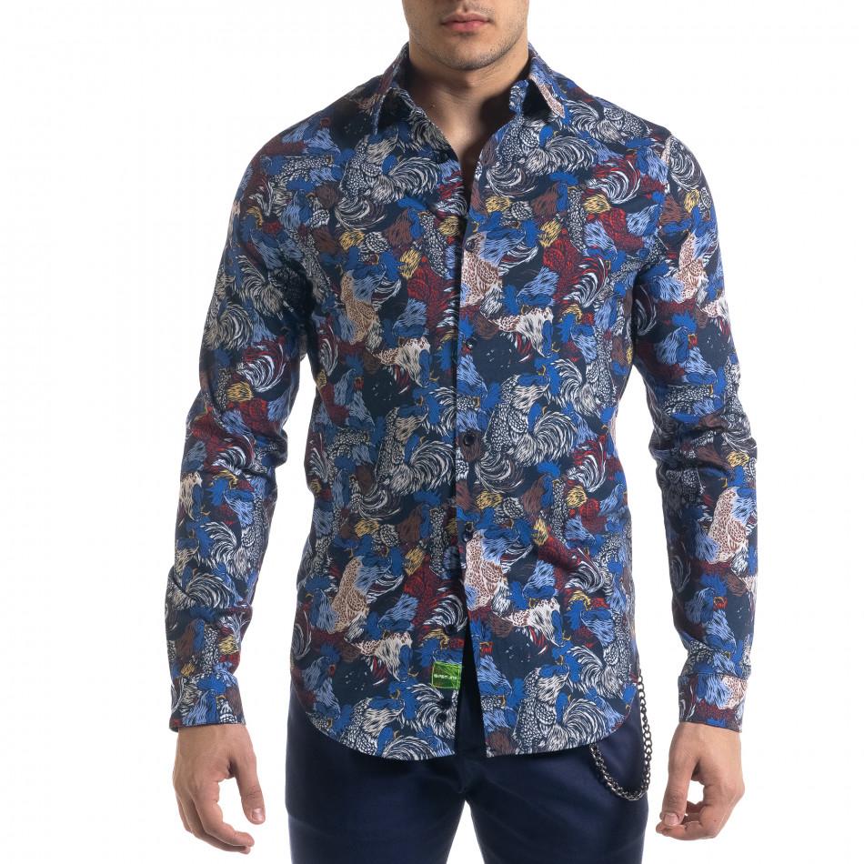 Slim fit мъжка риза десен в синьо tr110320-99