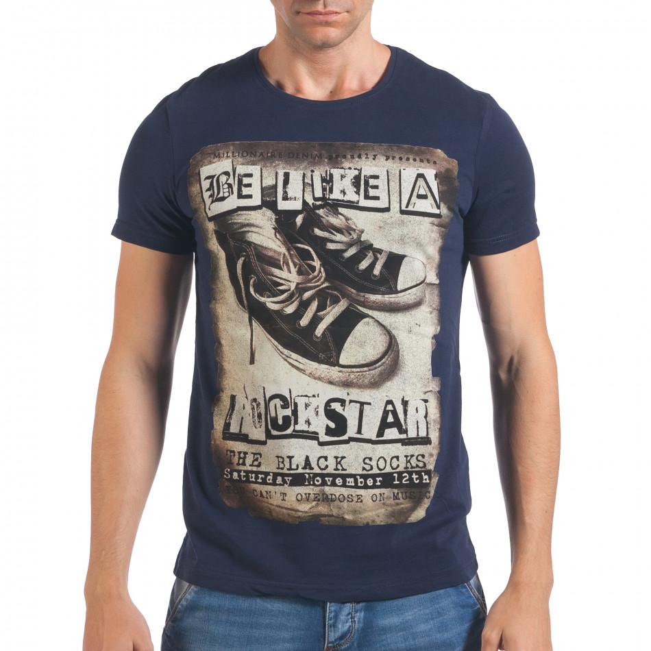 Мъжка синя тениска с принт кецове il060616-9