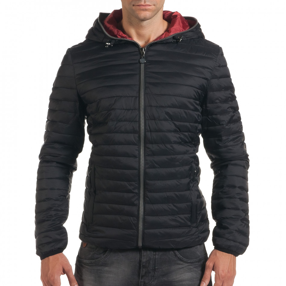Мъжко черно пролетно-есенно яке с хоризонтални шевове it190616-13