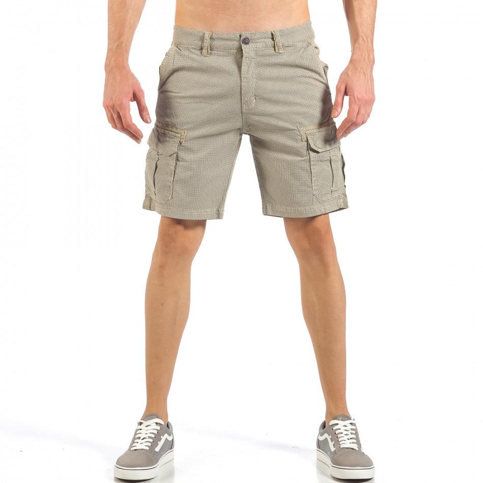 Мъжки къси карго панталони в цвят каки с дребен принт it260318-132
