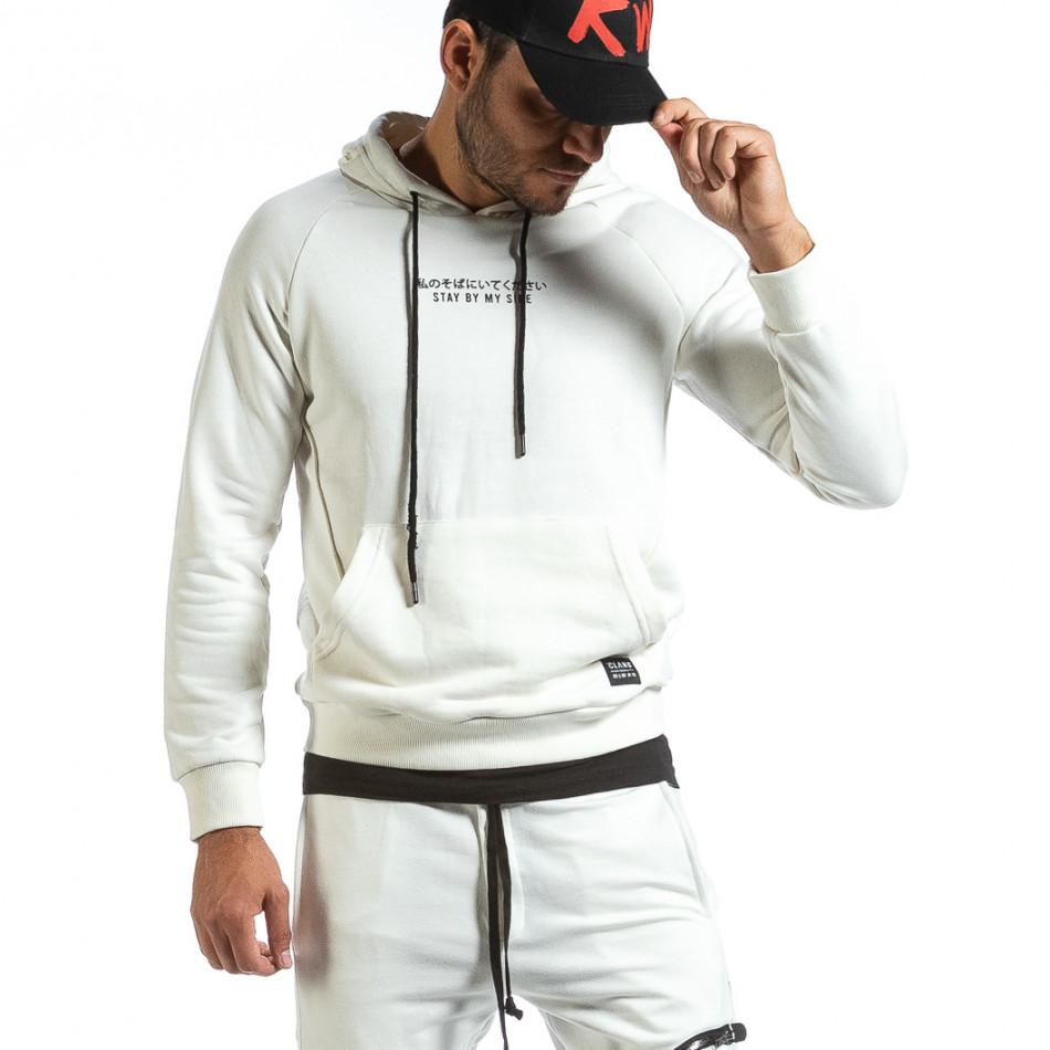 Мъжки бял суичър с качулка и контраст tr070921-35
