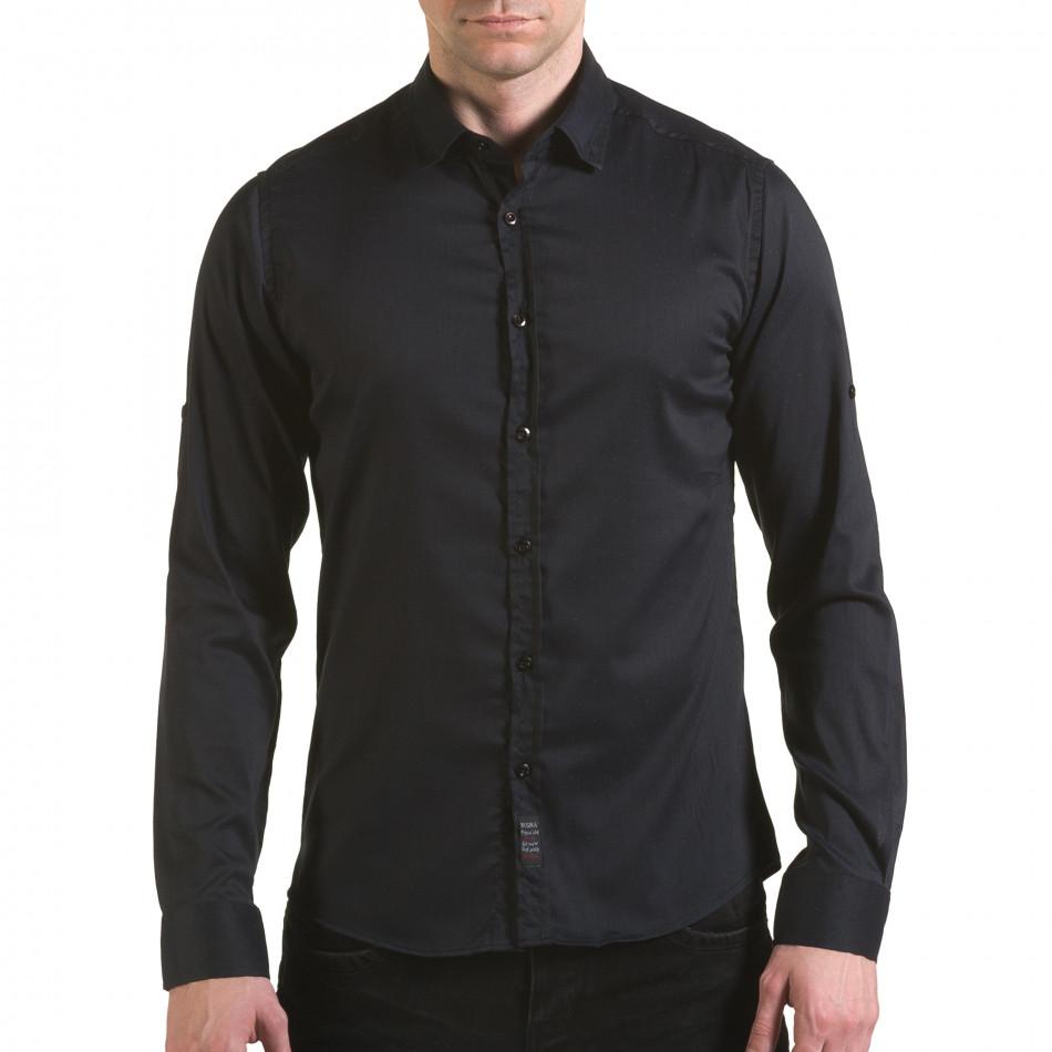 Мъжка черна риза с малки разноцветни детайли il170216-114