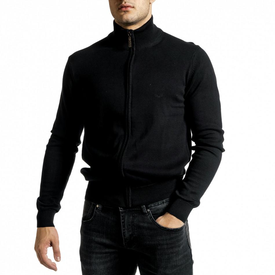 Фина мъжка жилетка с цип в черно tr231220-6
