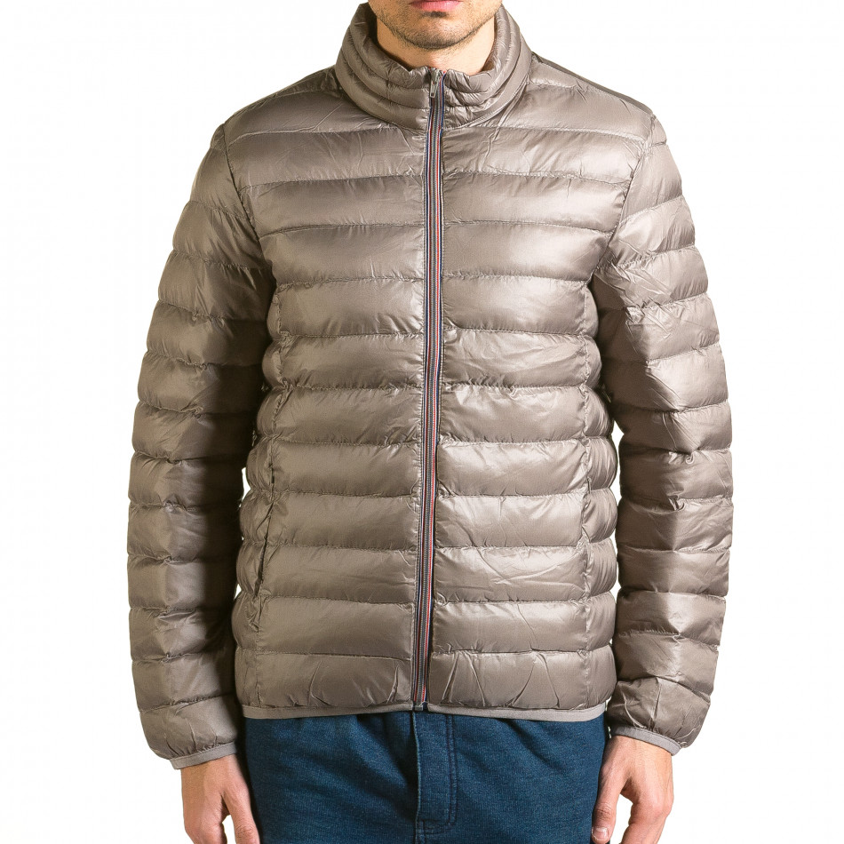 Мъжко бежово-сиво яке със синя подплата it110915-3