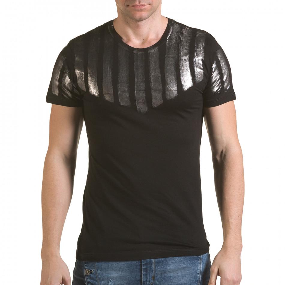 Мъжка черна тениска със сребрист принт il170216-51