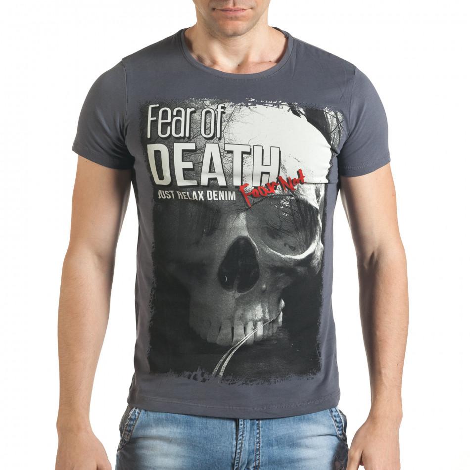 Сива мъжка тениска с голям череп и надпис il140416-25