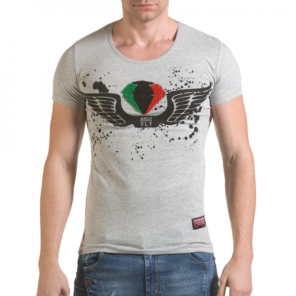 Мъжка сива тениска с принт крила и Италианското знаме il170216-78
