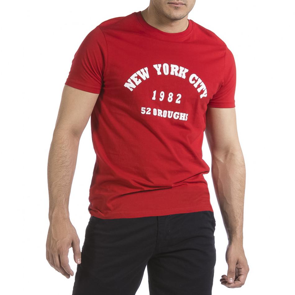 Мъжка червена тениска New York City it040621-8