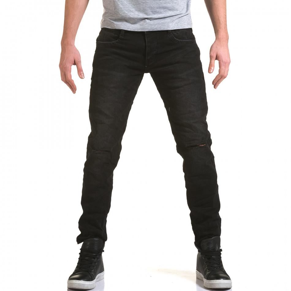 Мъжки черни дънки с прокъсвания на коленете it090216-23