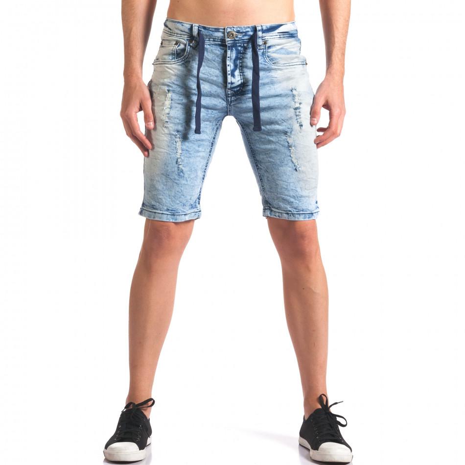 Мъжки къси дънкови панталони светло сини it250416-31