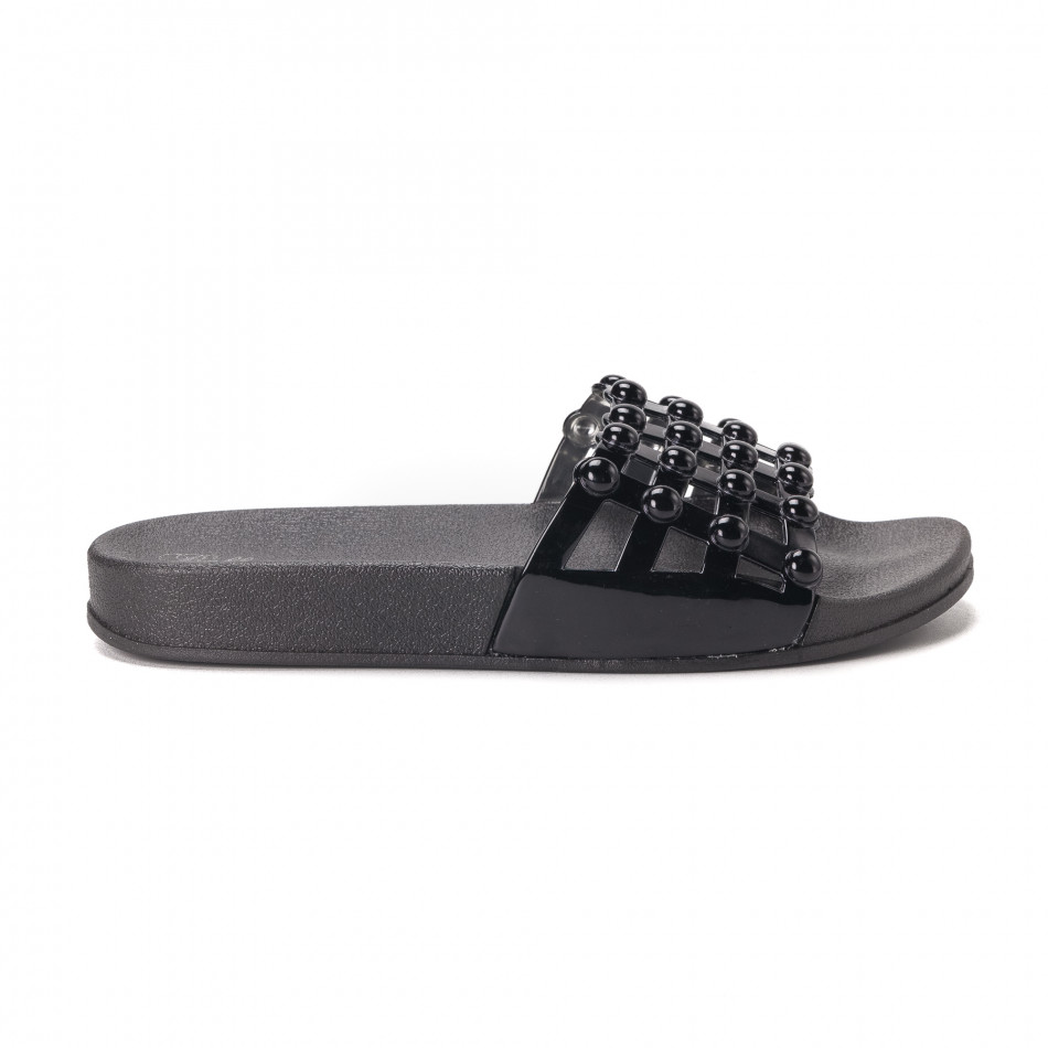 Дамски черни лачени чехли it010618-11