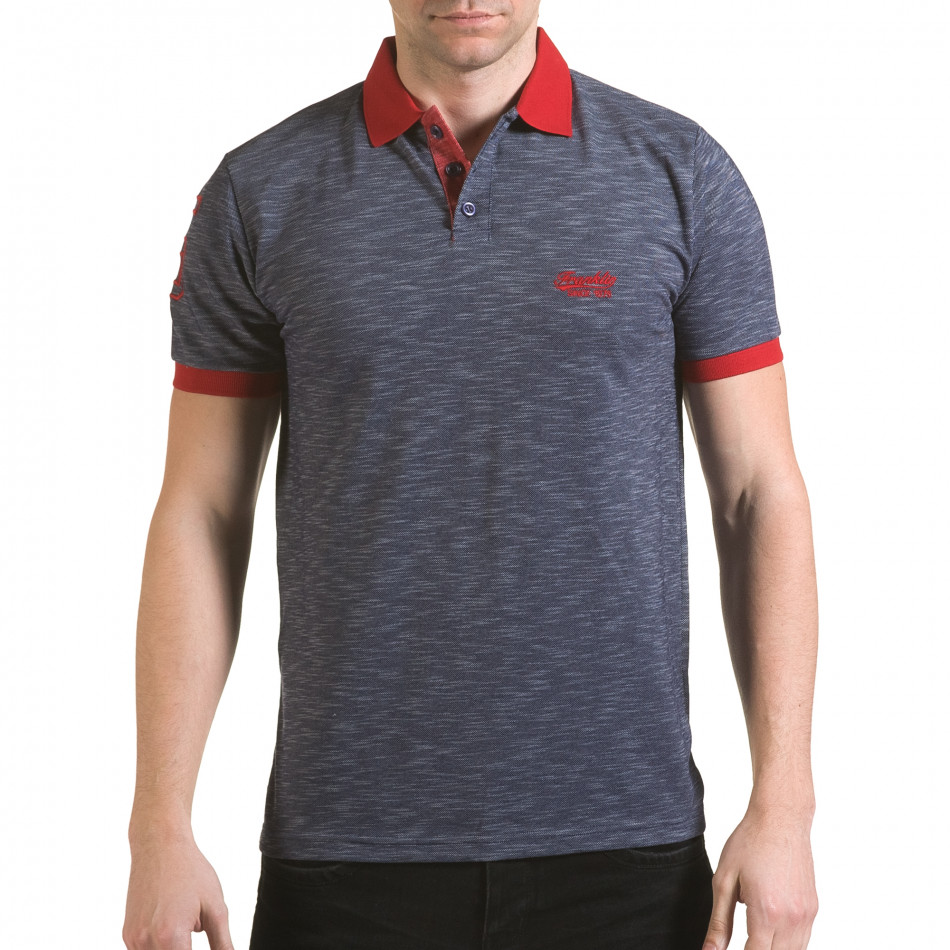 Мъжка синя тениска с червена яка il170216-38