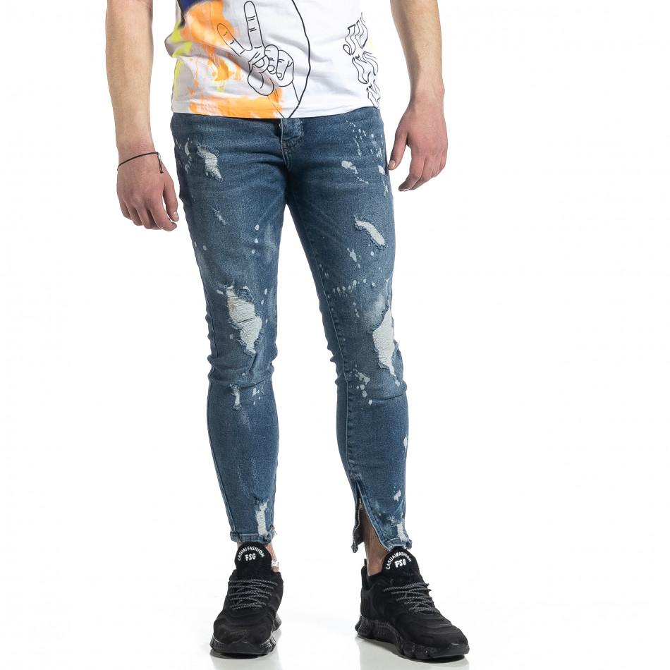 Bleach сини дънки с ципове на крачолите tr270221-5