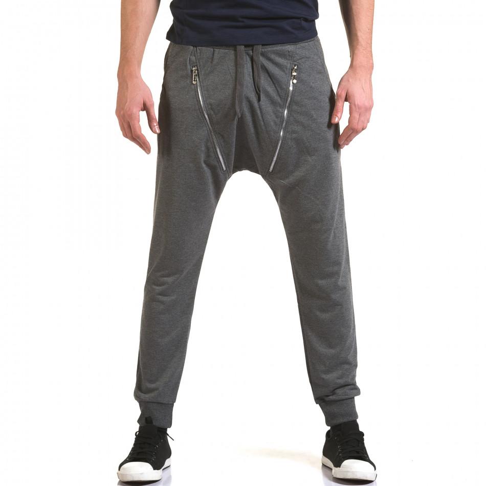 Мъжки сиви потури с 2 декоративни ципа it090216-45