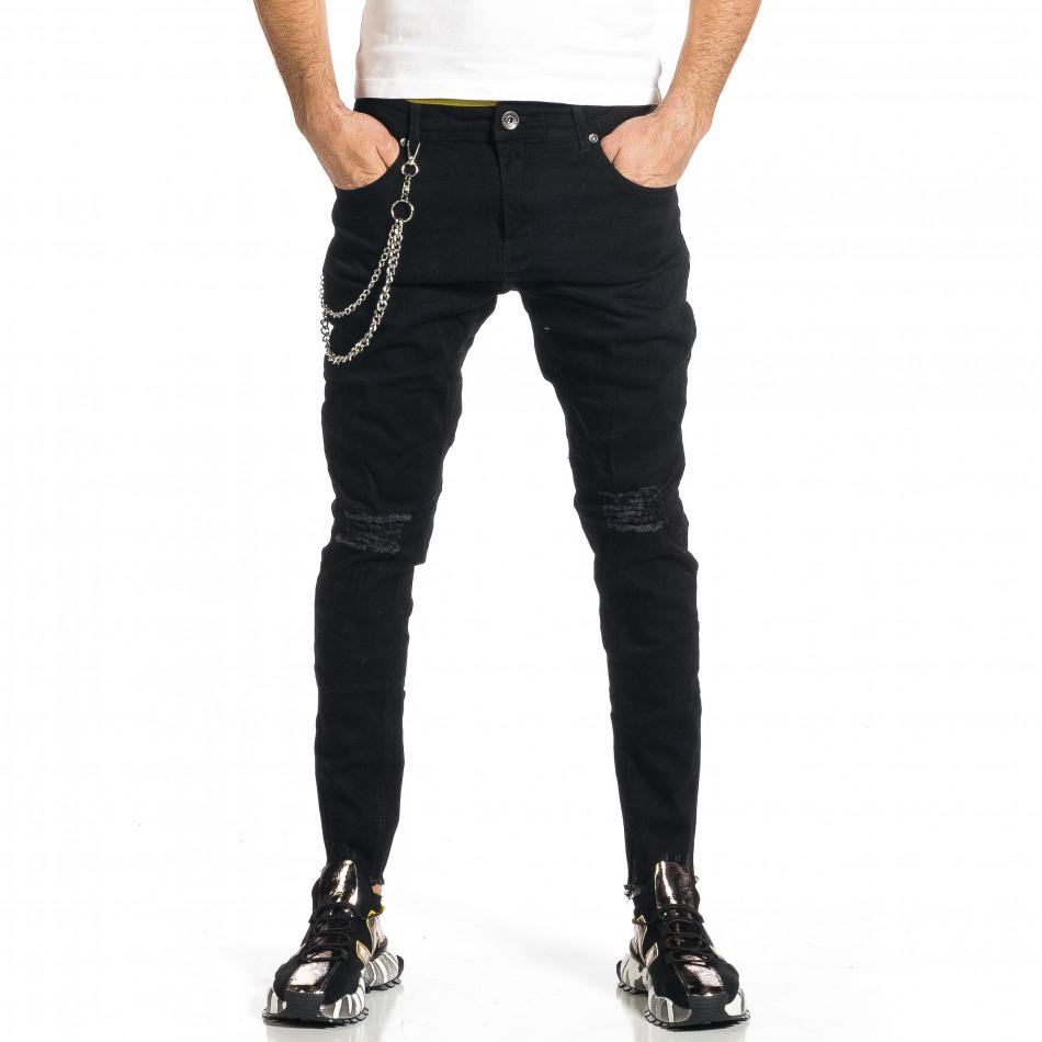 Мъжки черни дънки с прокъсвания и аксесоар gr270421-18