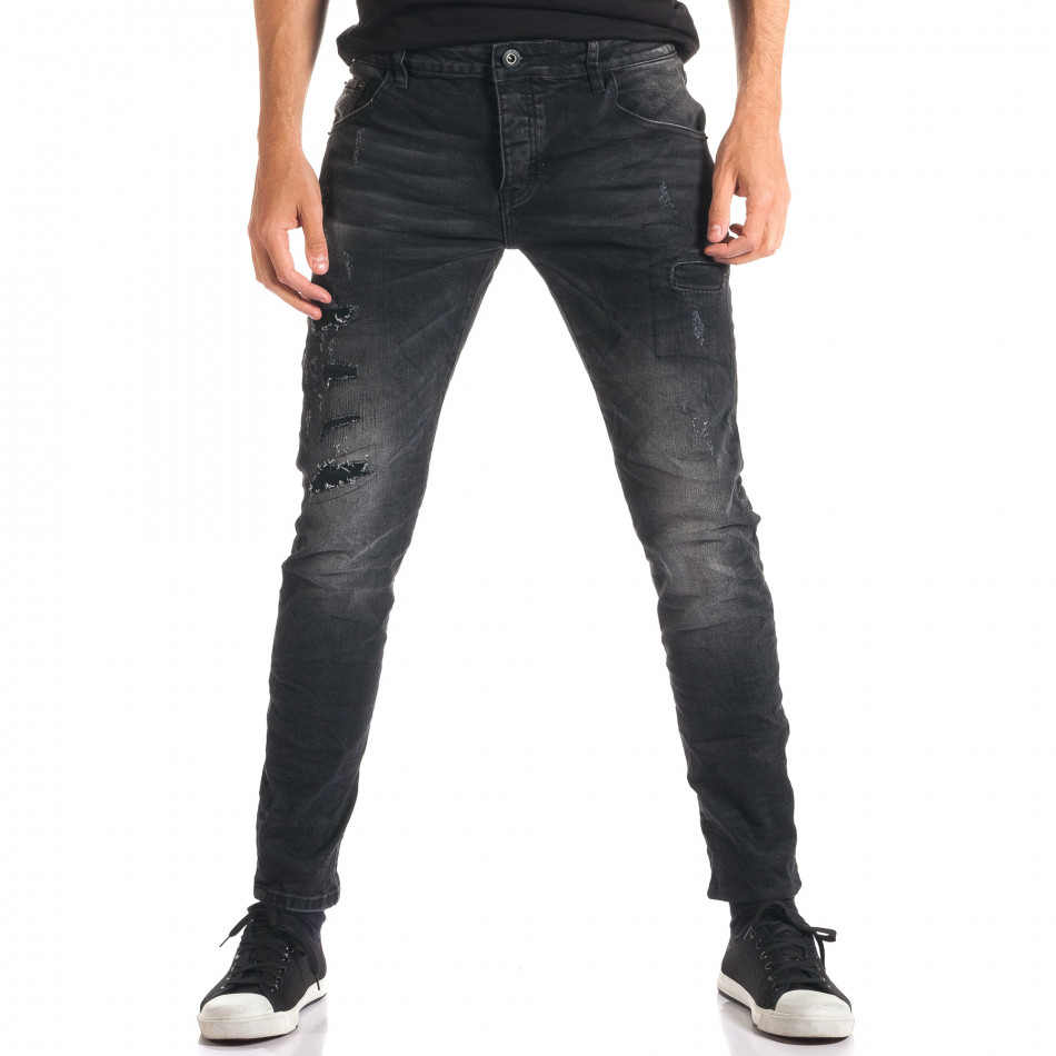 Мъжки тъмно сиви дънки с декоративни кръпки ca280916-2