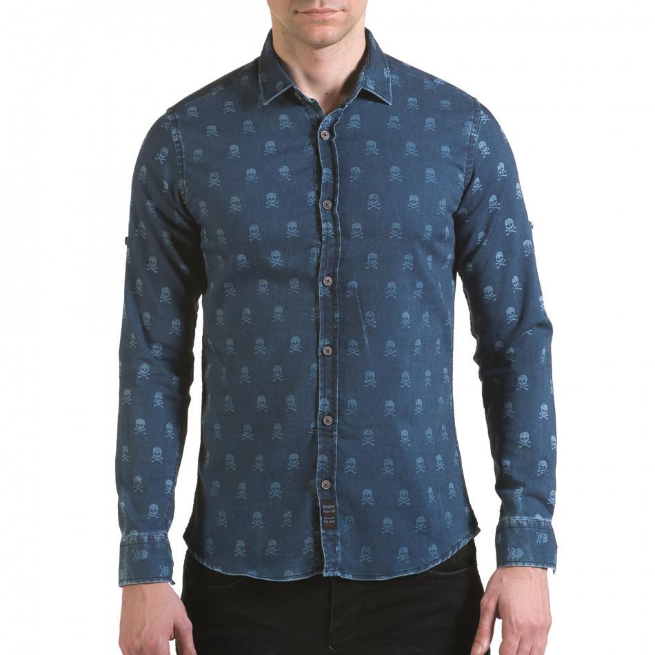 Мъжка риза син деним с черепи il170216-129