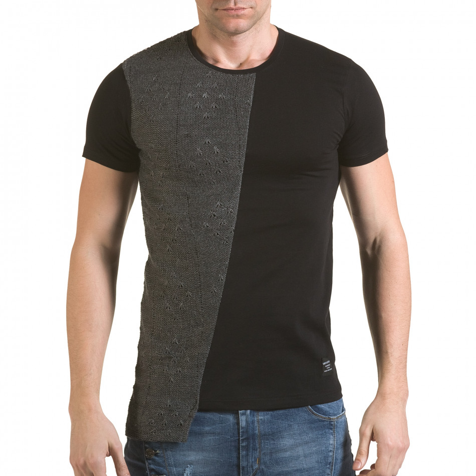 Мъжка черна тениска със сива плетена част il170216-63