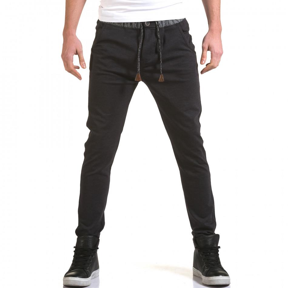 Мъжки синьо-сив панталон с контрастен ластик it090216-30