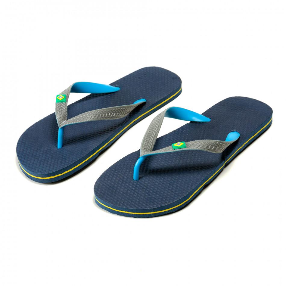 Мъжки сини джапанки със сиви ленти Brazil it240415-35