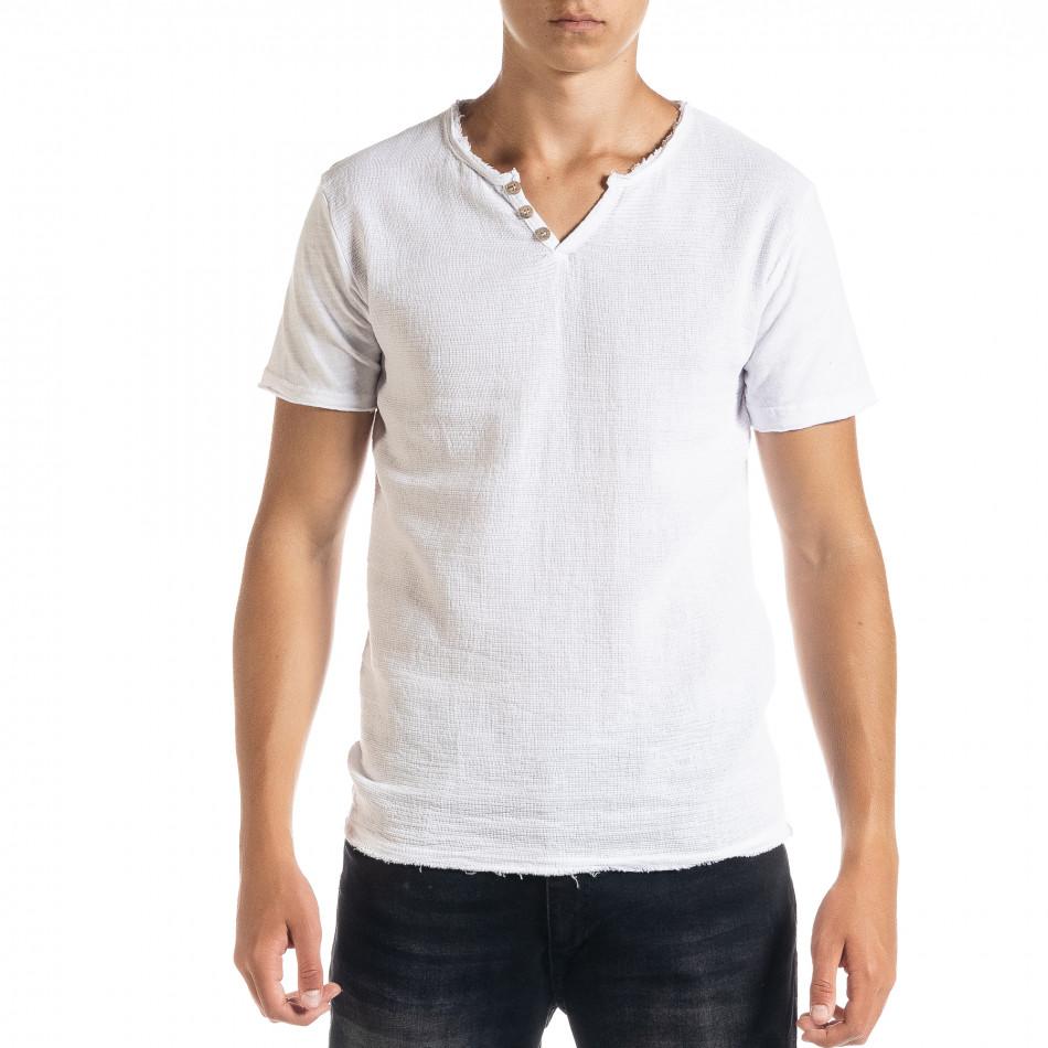 Мъжка тениска от памук и лен в бяло it010720-30