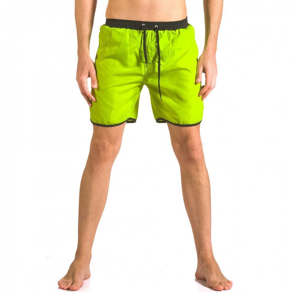 Мъжки неоново зелени бански тип шорти с бандаж ca050416-29