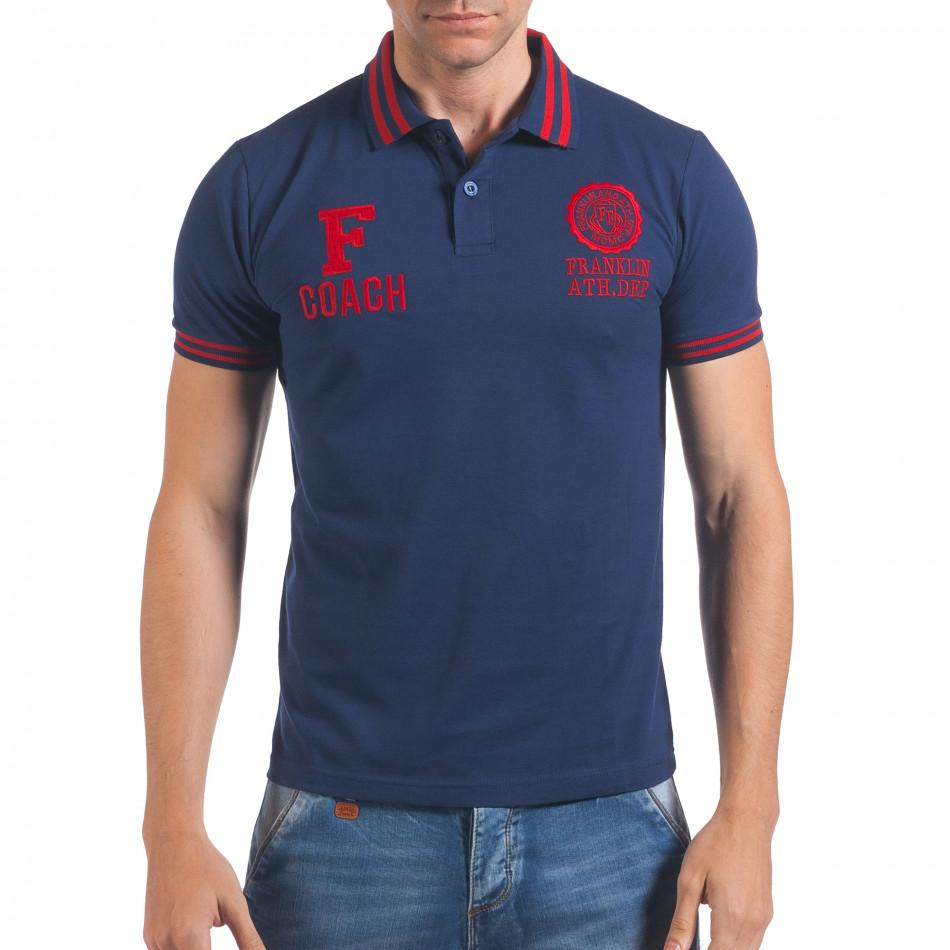 Мъжка синя тениска с яка F Coach il060616-105