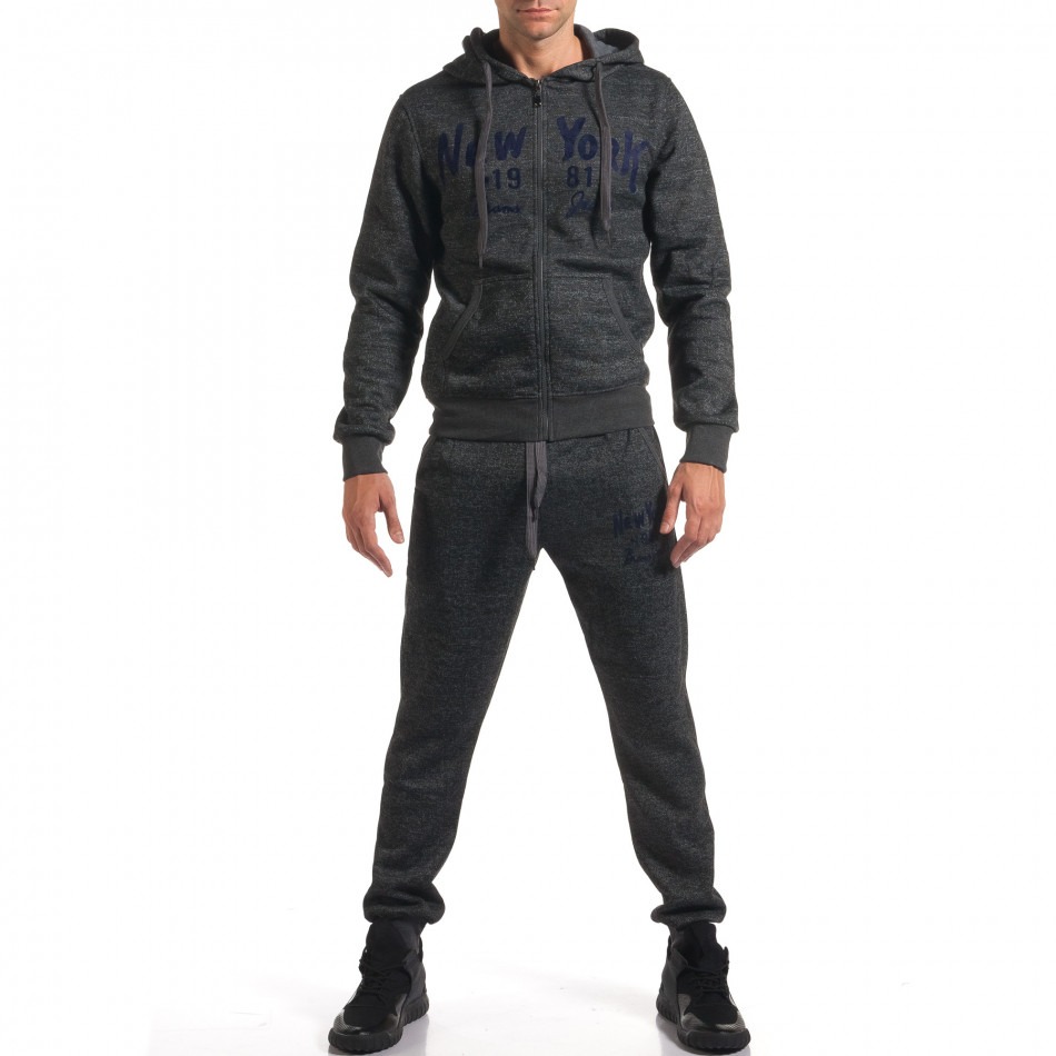 Мъжки сив спортен комплект с надпис New York it210916-2
