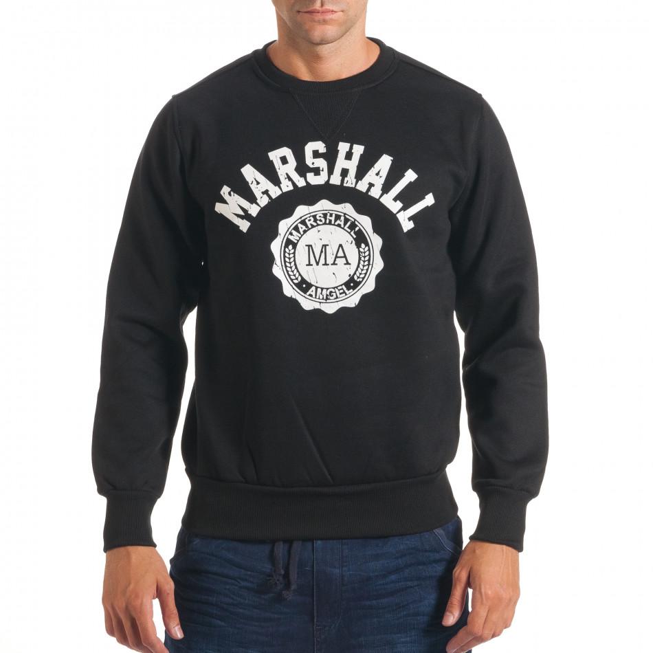 Мъжки черен суичър с надпис и емблема it240816-19