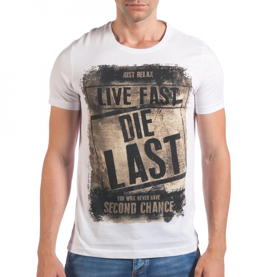 Мъжка бяла тениска Live Fast Die Last il060616-14