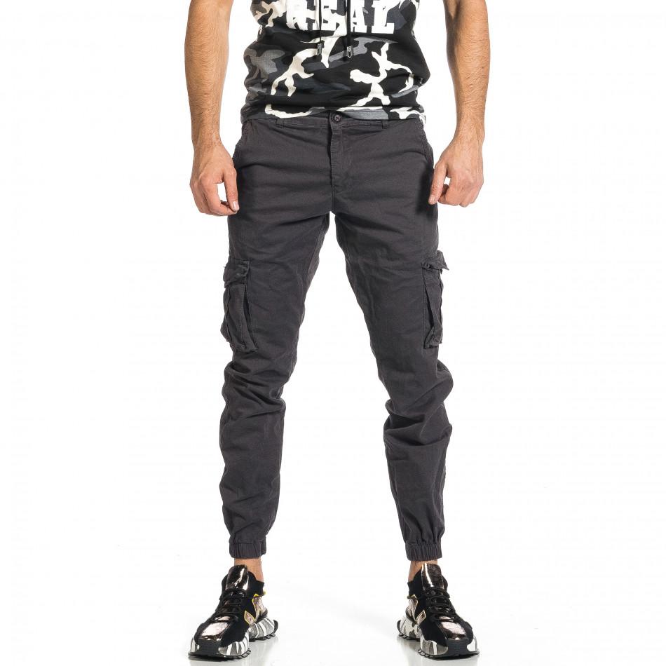 Мъжки сив карго панталон Jogger & Big Size tr270421-10