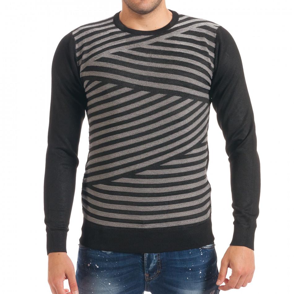 Мъжки черен пуловер на светло сиви райета it170816-15