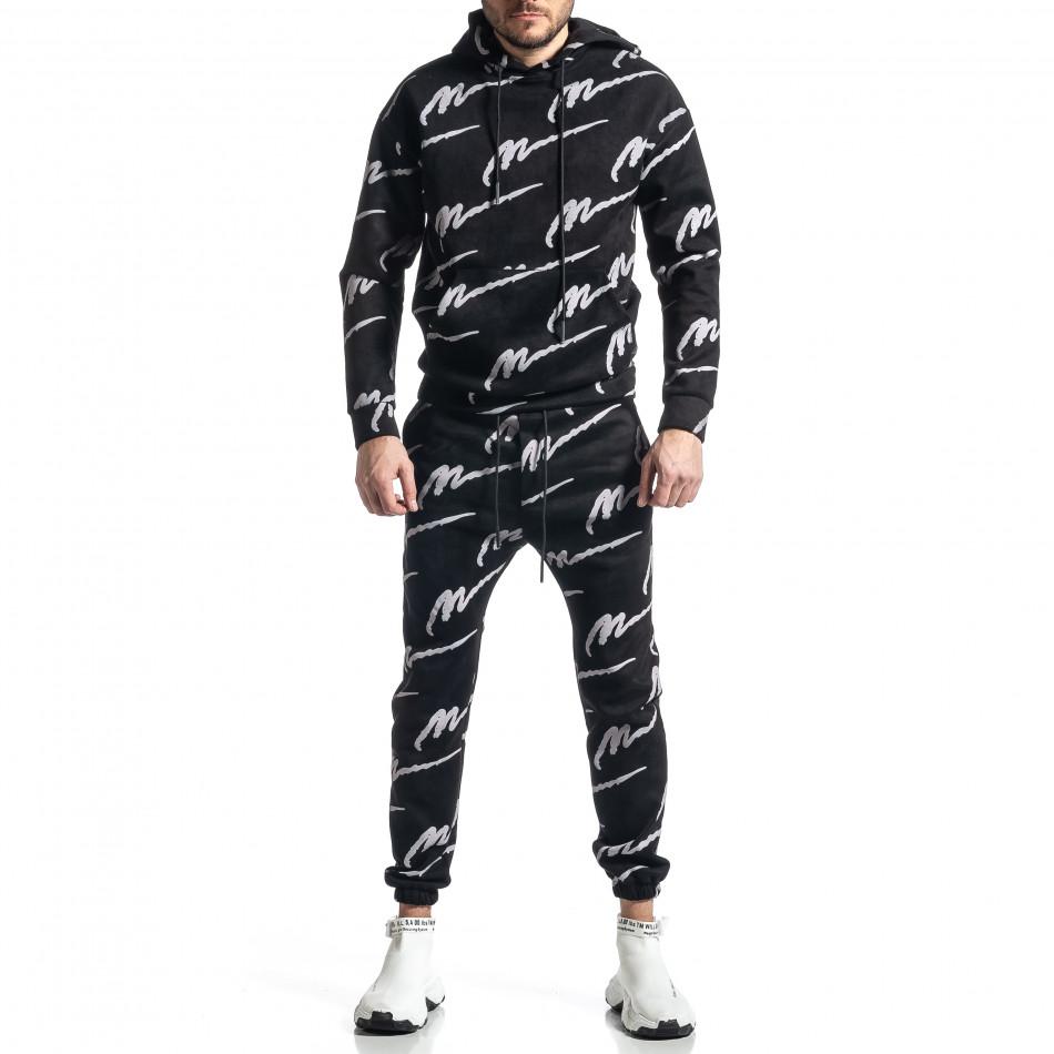 Мъжки черен спортен комплект с принт it010221-63
