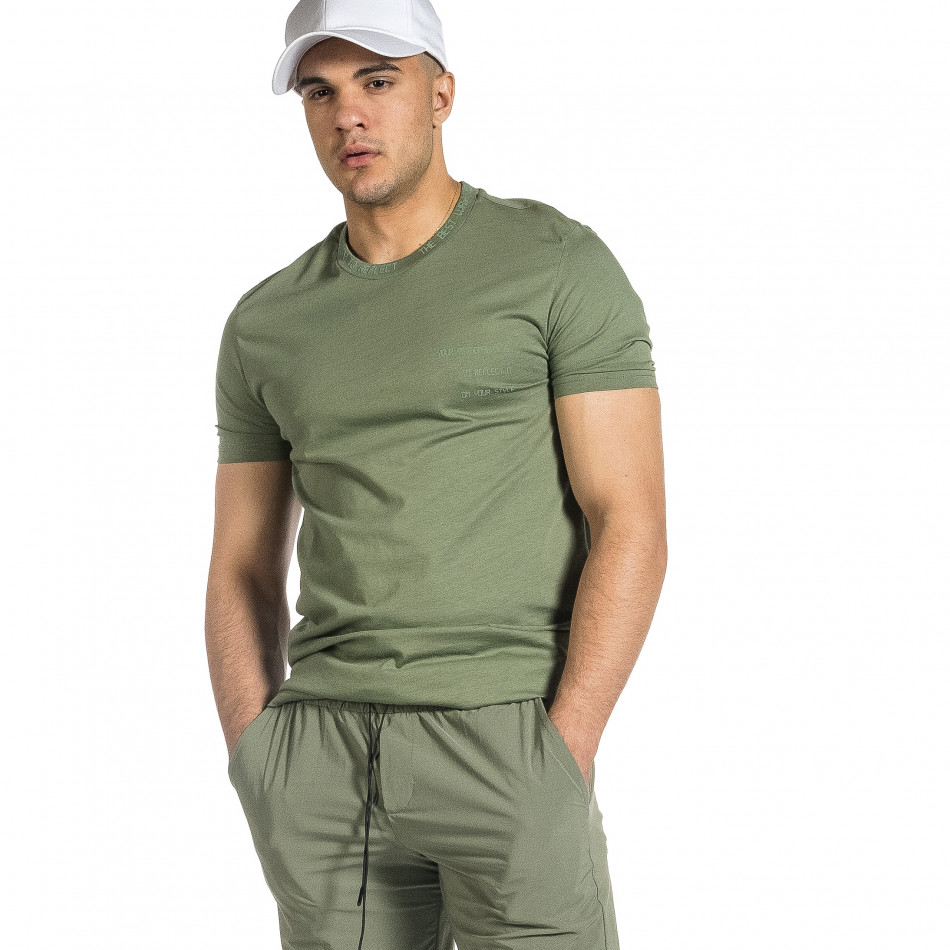 Мъжка зелена тениска с декорирано бие tr150521-8