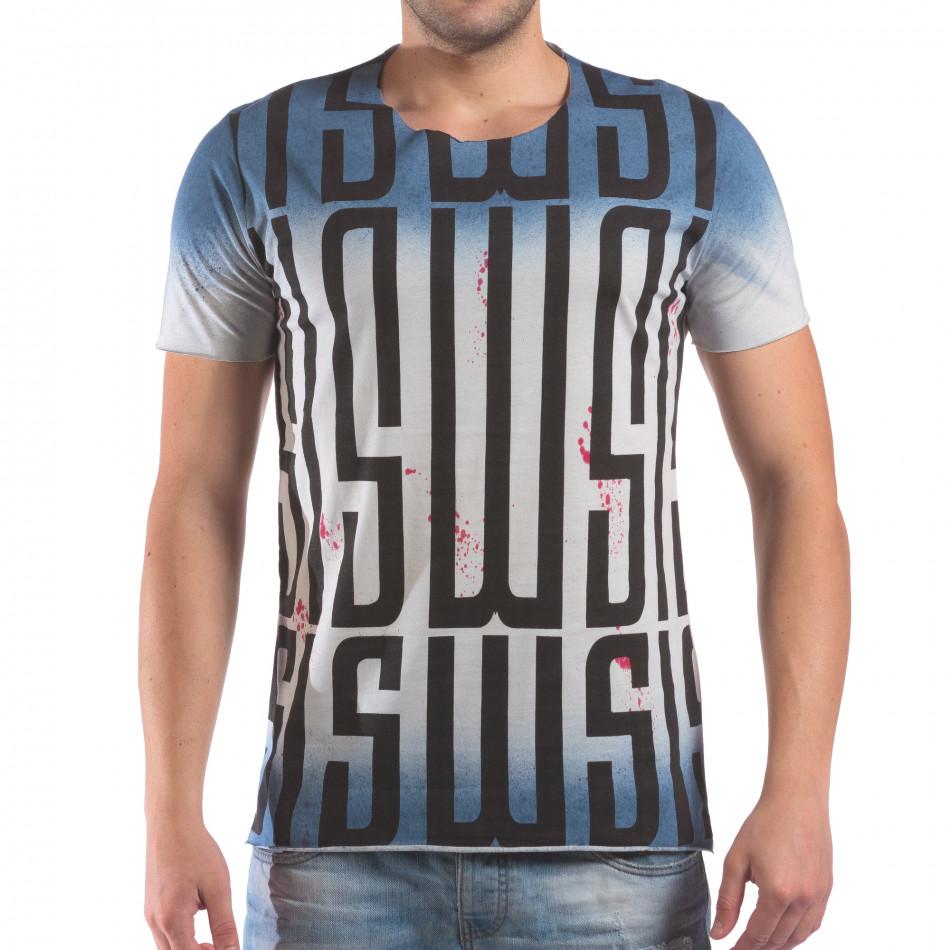 Мъжка синьо-бяла тениска с принт и червени напръсквания il210616-13