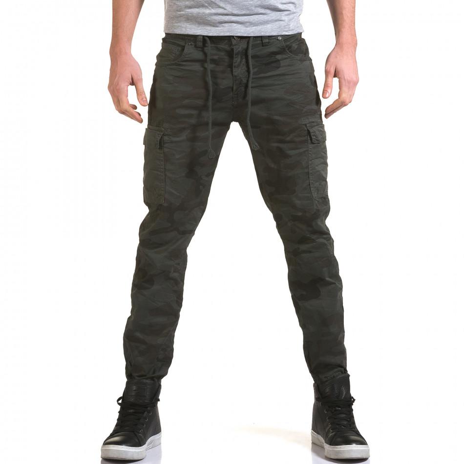 Мъжки панталон тъмно сив камуфлаж it090216-12