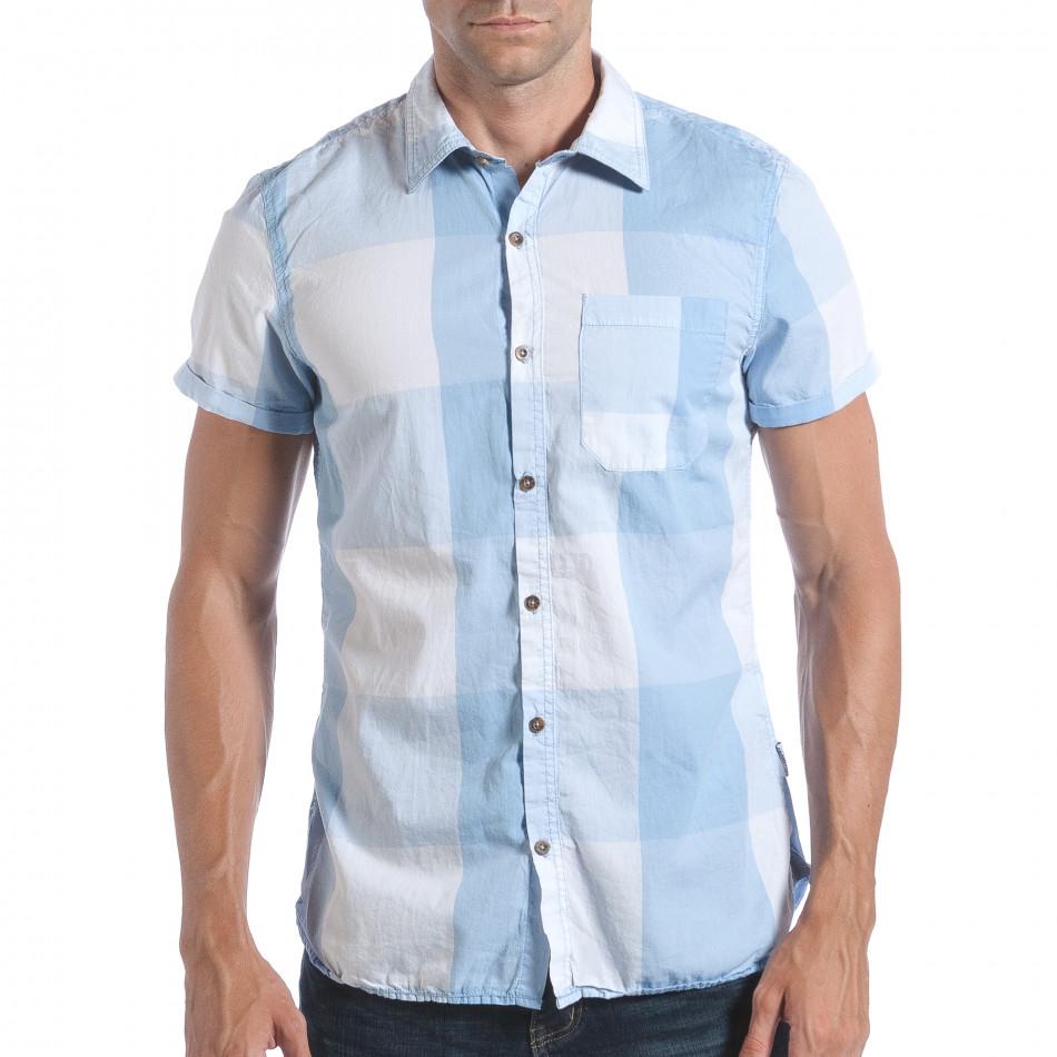 Мъжка риза с къс ръкав светло синьо каре lp280817-2